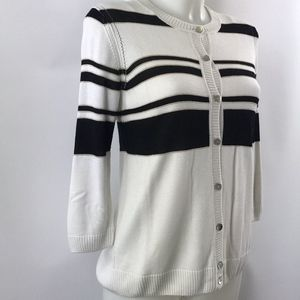 St John Ivory And Black Cardigan Size XS